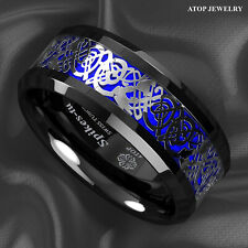 8Mm Blue Black Silvering Celtic Dragon Tungsten Carbide Ring Mens Jewelry