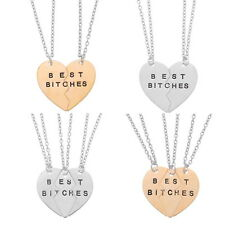 BEST BITCHES Best Friends Forever BFF Valentine Gift Heart Necklaces Pendant