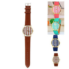 Classic Stripes Print Leather Quartz Watch Woman/Man Easy-to Read Multi Color