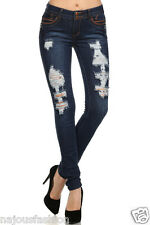 Clash str.denim skinny Distressed/destroyed ripped Jeans pants Juniors&plus size