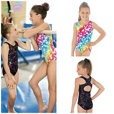 NEW Bright Rainbow Tye Dye Starburst Racer Back Gymnastics Leotard Child Adult