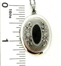 Pendant LOCKET Barrows Oval Sterling silver or Gold filled 18 inch rope chain