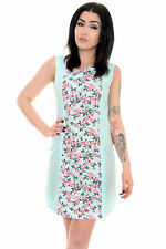 Ladies 60's Retro Vintage Twiggy Hibiscus Floral Mini Shift Dress