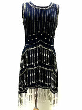 Blue Vintage 1920s Flapper Gatsby Downton Abbey Fringe Beaded Dress Size 8-18