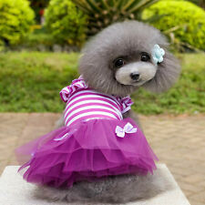 Cute Pet Puppy Stripe Tutu Dress Small Dog Lace Bow Skirt Princess Dress Clothes