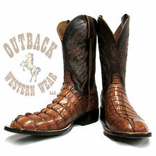 Lucchese Men's Landon Tan Rust Hornback Caiman Tail Cut Square Toe Boots M2685