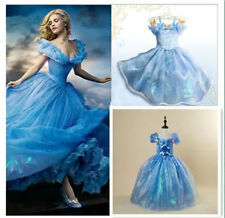 2015 Girls Disney CINDERELLA Butterfly Girls Dress Ella Blue Princess Dress