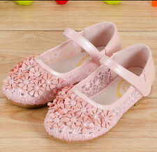 Girls Kids Sweet Pricess Floral Velcro Strap LACE Dress Lolita Mary Janes Shoes