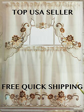 3 PC Embroidered Polyester Kitchen Curtain Set 6 STYLES FREE QUICK SHIPPING!