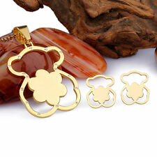 Silver&Gold Plated Stainless Steel Flower Teddy Bear Charm Necklace Earring Set