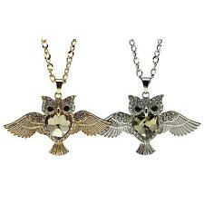 Women Charming Flying Owl Diamond Heart Crystal Pendant Chain Sweater Necklace