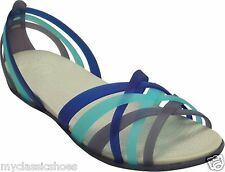 CROCS HUARACHE FLAT WOMEN'S SANDAL NAUTICAL NAVY AQUA COLORED STRAPS NEW CROCS