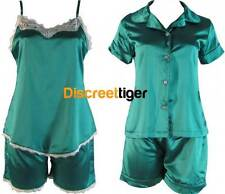 Spring Summer Loungewear Two Tone Green Sleepwear Pj's Pyjamas Satin Style New