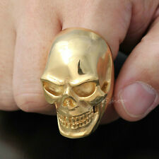 18K Gold Plated Mens Huge Heavy Skull 316L Stainless Steel Biker Ring Gothic