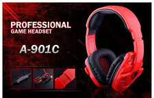 Red Sades901C Pro Gaming Stereo Headset Ear-Cup Headphone with Mic for PC Laptop