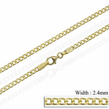 9ct solid gold curb chain 18 20 22 24 inch necklace yellow gold hallmarked 2.4mm
