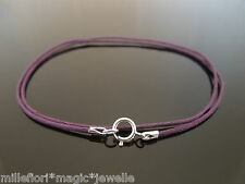 """1mm Purple Waxed Cord & 925 Sterling Silver Necklace 14"""" 16"""" 18"""" 20"""" 22"""" 24"""" etc"""
