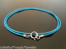 "1mm Turquoise Waxed Cord & 925 Sterling Silver Necklace 14"" 16"" 18"" 20"" 22"" 24"""
