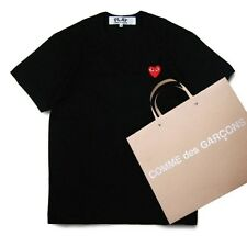 NEW 4 Sizes WHITE 2015 COMME DES GARCONS CDG PLAY SMALL BLACK HEART T-SHIRT