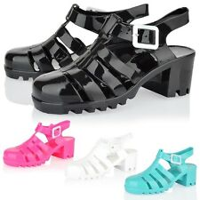 Girls kids jelly sandals block heel strapy summer beach holiday jellies shoes