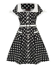 Women's Floral Button Up Polkadot  50's Vintage Rockabilly Flared Swing Dress