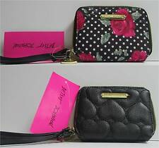 Betsey Johnson Zip Around Organizer Wallet Wrist let NWT Black or Floral $58