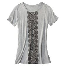 Jason Wu for Target Short Sleeve Tee T Shirt Lace Print Heather Gray XS S NWT!