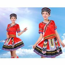Chinese Ethnic Tribal Top Mini Skirt Set Dress Shirt Outfit Floral Retro Casual