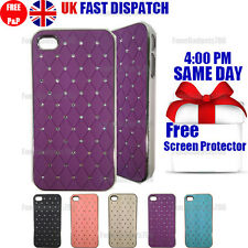 DIAMOND BLING CHROME HARD CASE & FREE SCREEN PROTECTOR FITS Apple iPhone 4G 4S