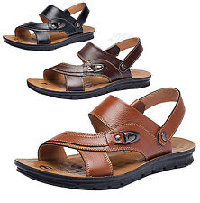 Men Classic Genuine Leather beach Sandal Straps Casual Flats Slipper Shoe New