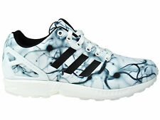 NEW MENS ADIDAS ORIGINALS ZX FLUX RUNNING SHOES TRAINERS WHITE / WHITE / BLACK