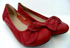 COMFORT Full Leather BALLET Low Heel FLATS Maroon BOW SLIP ON Casual WORK Shoes