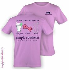 Simply Southern Preppy Mint JULEP Bows Pearls Cotton Short Sleeve T Shirt