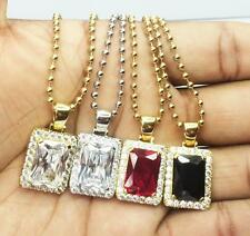 Ruby Square Iced Out Hip Hop Lab Diamond Pendant And Chain Necklace