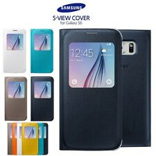 S6 S VIEW Genuine LEATHER Flip CASE COVER FOR SAMSUNG GALAXY S6 UK - Black White