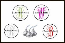 Wedding Anniversary Favor Monogram Hershey Kiss Labels Stickers Any Color