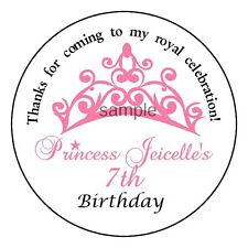 Princess TIARA Custom PERSONALIZED Birthday Party Favor Stickers Labels