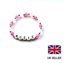 GIRL'S PERSONALISED PINK BRACELET IDEAL FOR GIRLS BIRTHDAY/PARTY GIFT - ANY NAME