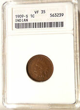 "1909-S Indian Cent - Scarce ""KEY"" Date - ANACS VF35 - Sharp Looking Coin"