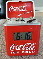 Coca Cola Alarm Clock, Battery Operated, Retro Ice Cooler, Chest