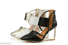 Women's Shoes Genuine Leather High Wedge Crystal Heel Pumps Sandals US Size S384