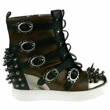 Hades Skylar Brown Spike Sneaker Boots - Gothic,Goth,Shoes,Steam