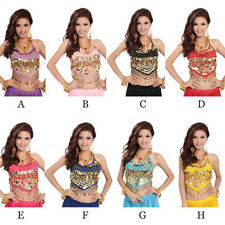 Belly Dance top Costume Sexy Bra top fancy Party Sequins Beads colors Bells