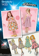 Simplicity 1433 Sewing Pattern Girls Project Runway Dress Bow Collar Age 6m-8Yr