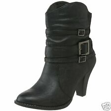 NEW! UNIONBAY Womens Stony Sexy Ankle Buckle Skinny Jean Boots Black 6