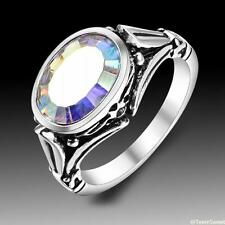 New Stunning Vintage Exquisite Rainbow Topaz 925 Silver Ring size 7 8 9