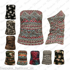 Ladies Womens Ruched Bandeau Aztec Army Animal Boobtube Vest Crop Top Plus 8-22