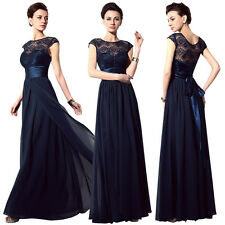Long Navy Blue Lace Chiffon Formal Womens Bridesmaid Gown Evening Party Dresses