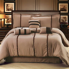 NEW Luxury Polyester Coffee Brown Queen/King Size 7 Piece Bedding Comforter Set