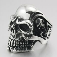 Huge Heavy 316L Stainless Steel Titan Skeleton Skull Mens Biker Ring 3A001D